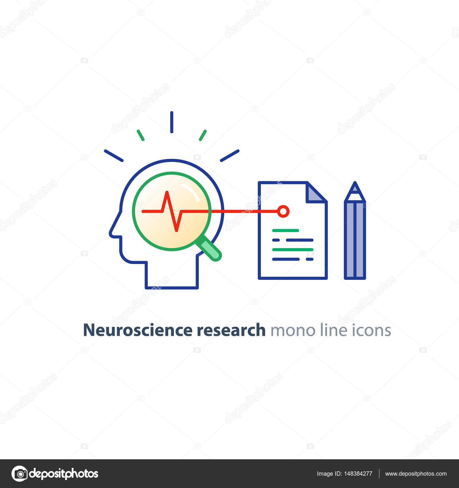 Logo de concepto de Neurociencia y psicología, investigación de la ...