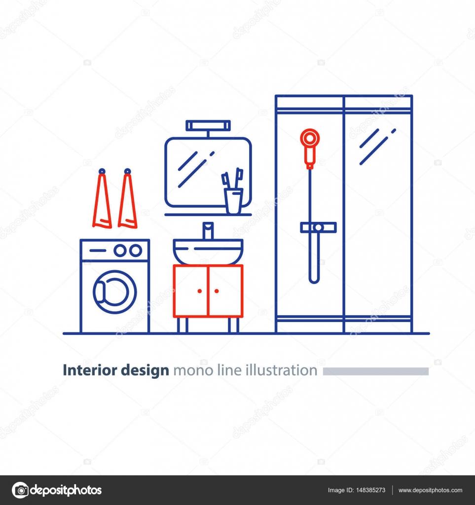Piano di progettazione bagno, impianto voci, lavandino doccia e ...