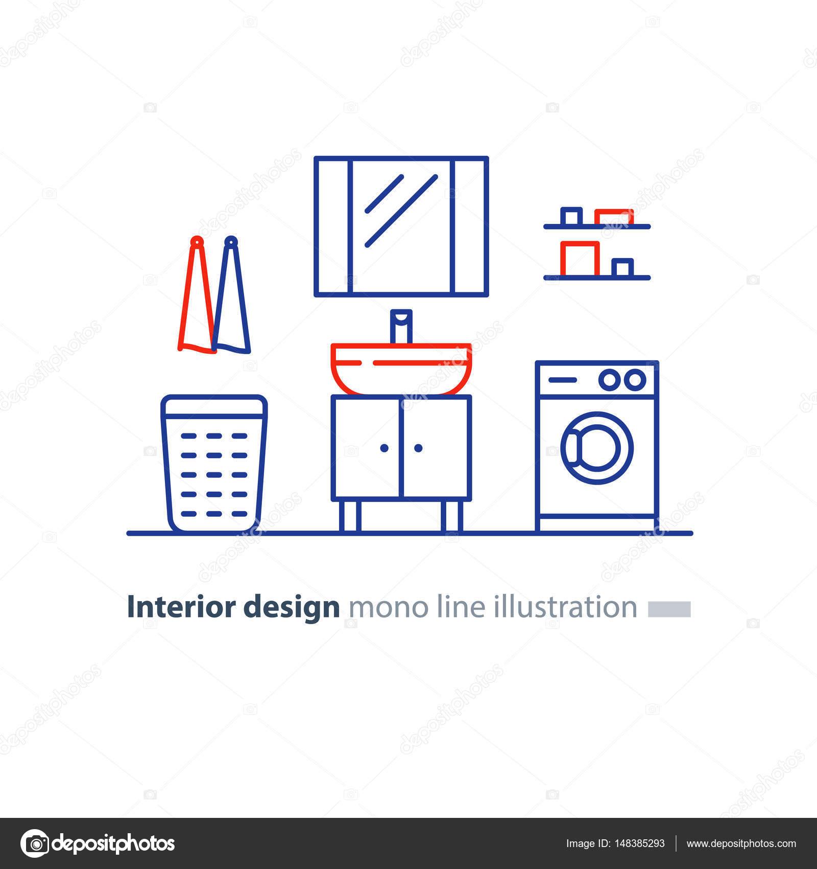łazienka Projekt Planu Elementów Obiektu Pralka I Umywalka