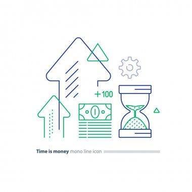 Cash bundle and sand glass, time is money concept, financial investment line icons