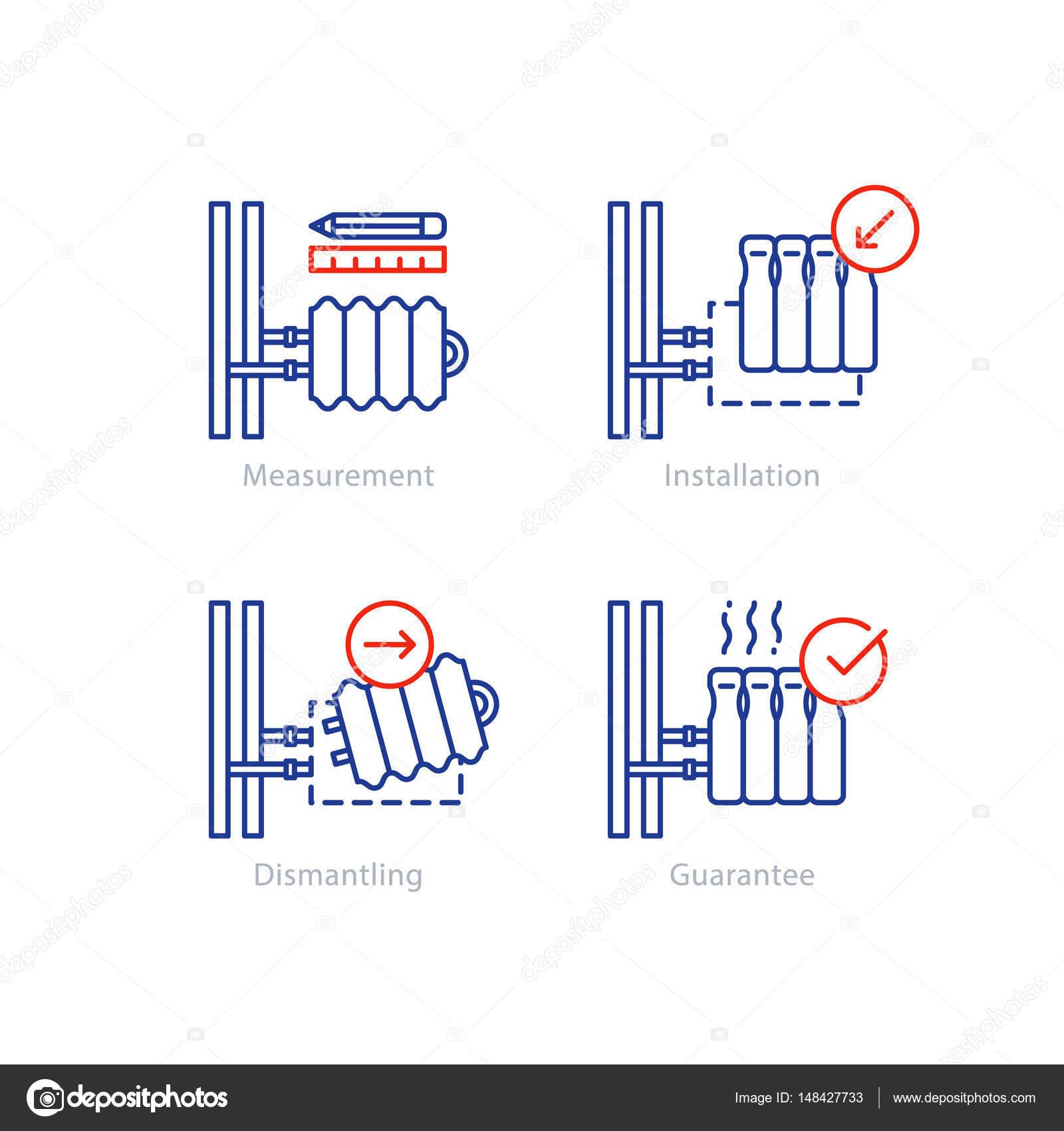 Heizung Heizkörper Reparatur, Schlauchanschluss, Renovierung-Konzept ...