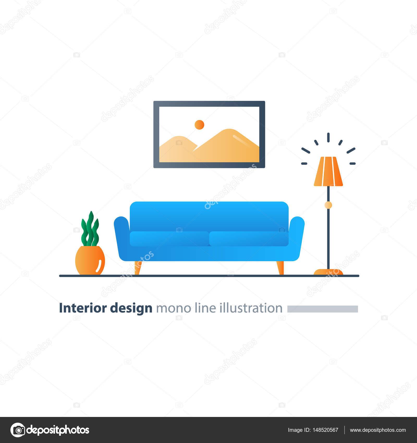 Interieur design oplossing, woonkamer sofa, lange bank, lounge zone ...
