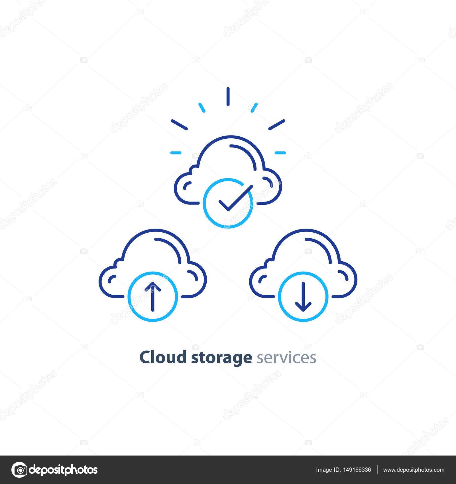 Cloud Storage Services Concept Vector Mono Line Icon By Stmool