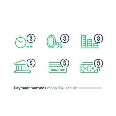 Buy in credit concept, payment installment plan, zero fee offer, line icons