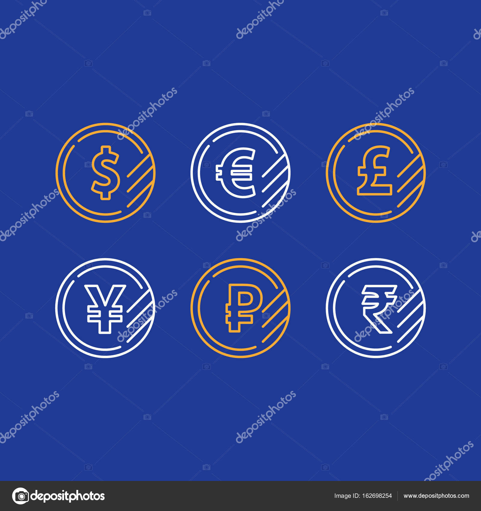 Dollar Coin Euro Sign Pound Line Icon Yen Currency Ruble Symbol