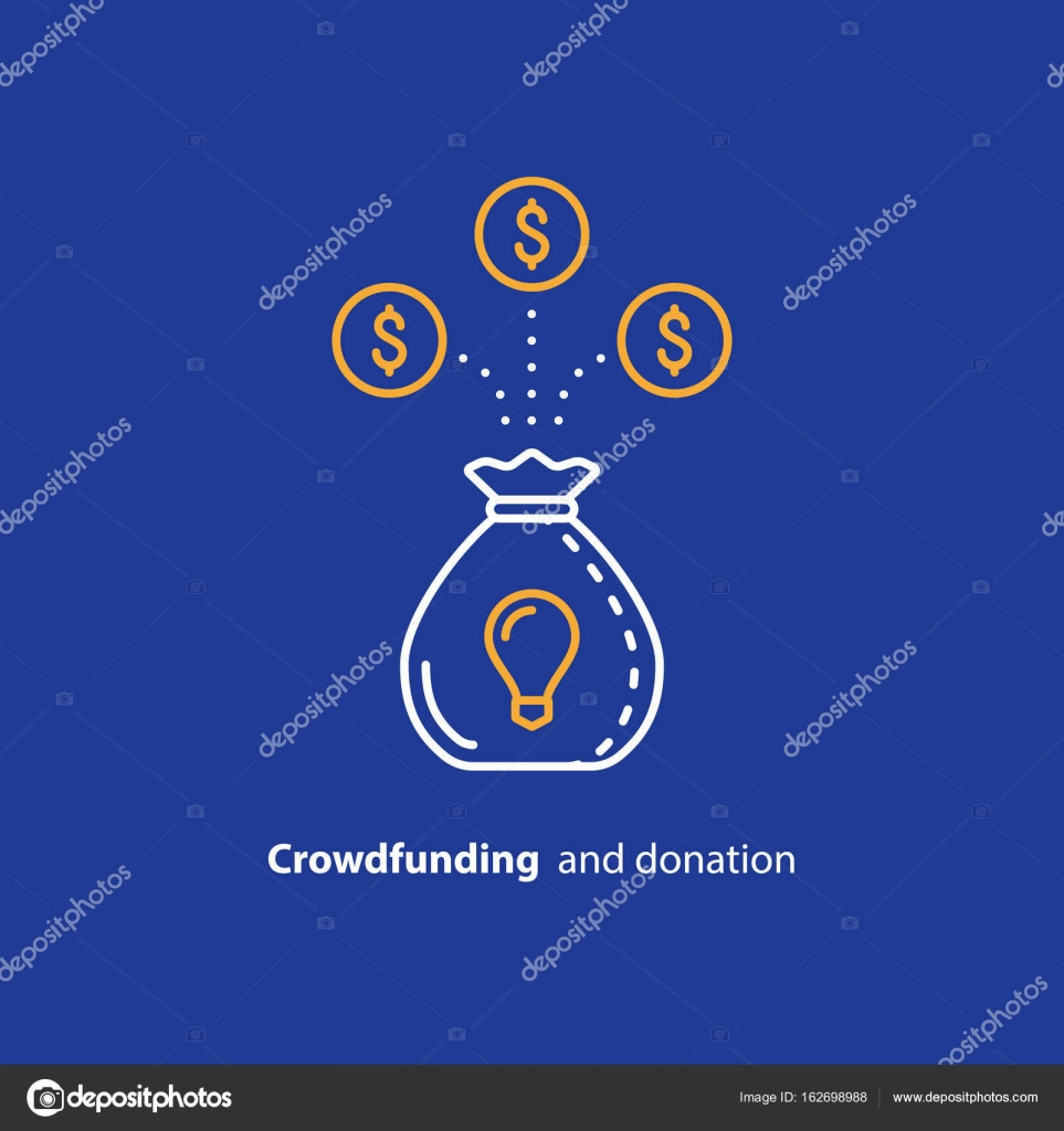 Faire Un Don D Argent Icone De Ligne Crowdfunding Concept D