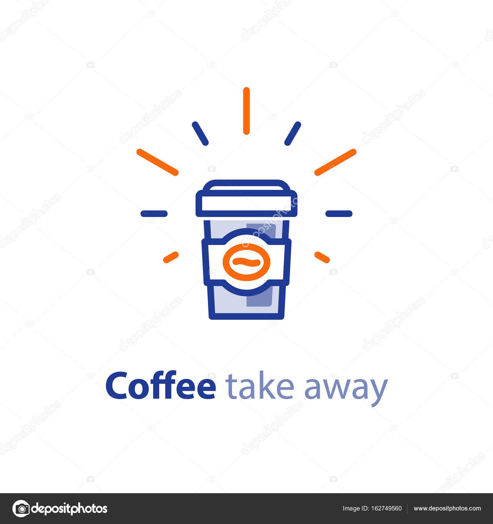 Glänzende Kaffeetasse mit Deckel, heißes Getränk Angebot, take-away ...