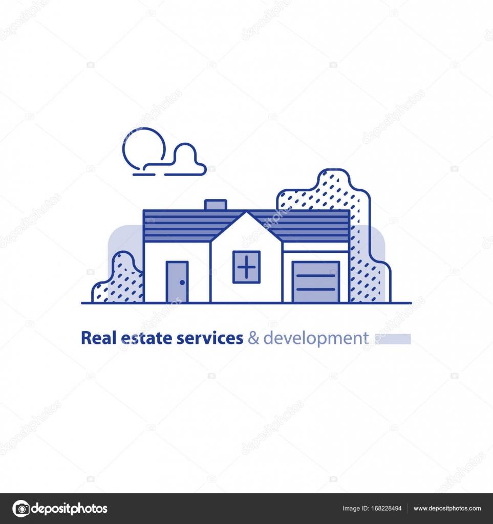Immobilien, Wohnhaus, Landhaus, Haus außen — Stockvektor © Stmool ...