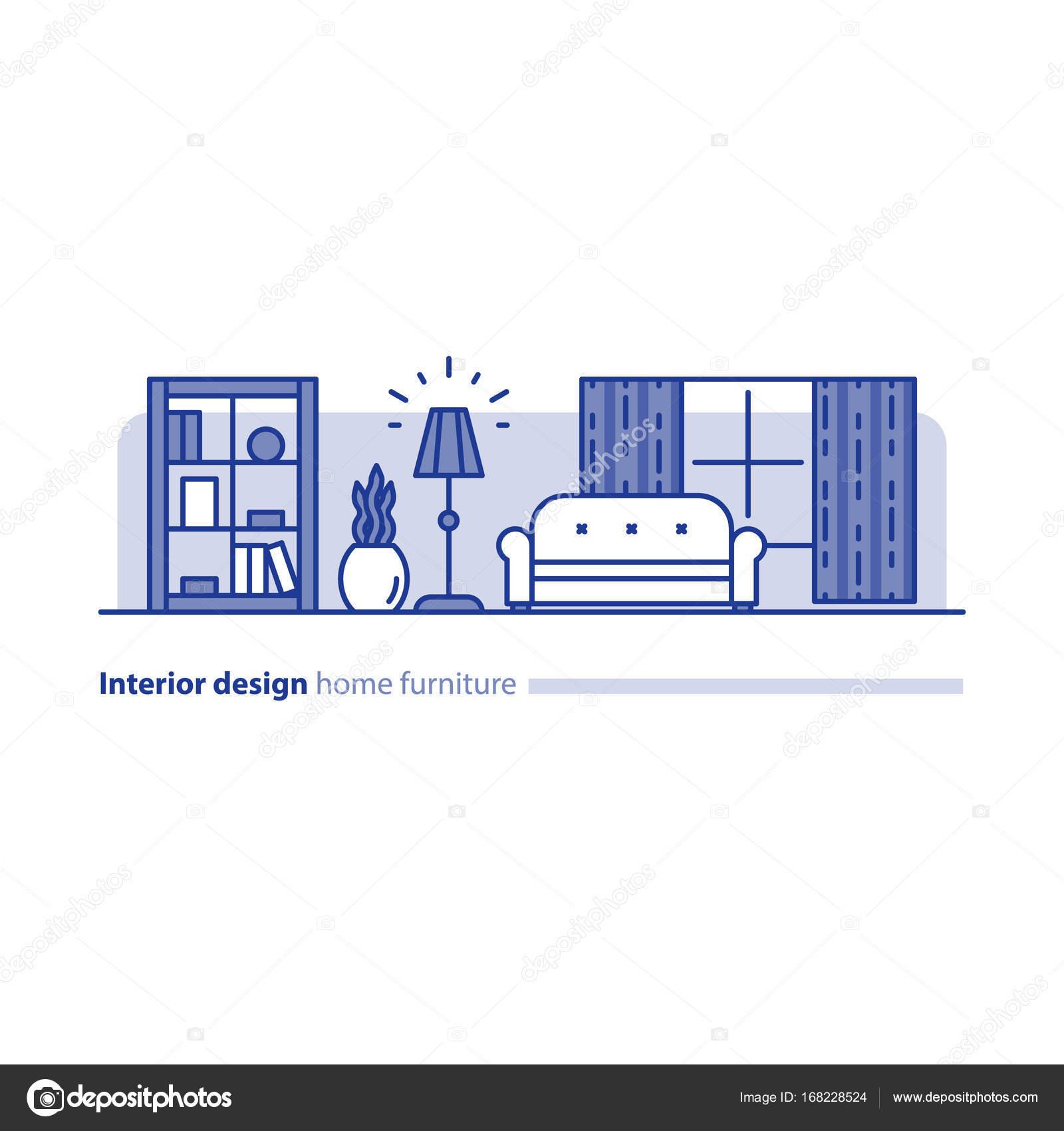 Anordnung der Möbel im Wohnzimmer, Einfachheit Konzept, komfortables ...
