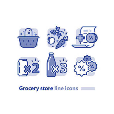 Food shopping, grocery basket, fresh vegetables line icon, reward loyalty program, discount beverage, soda cans offer