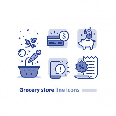 Food shopping, grocery basket, vegetables line icon, reward loyalty program, earn points every purchase