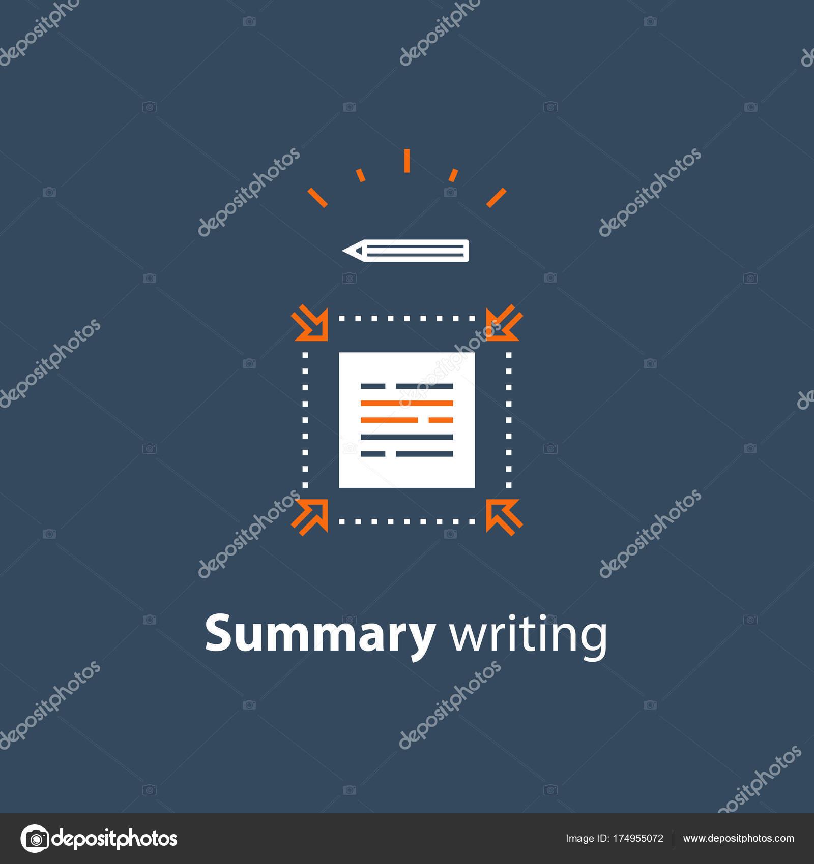 Breve información, editar texto, extracto de la escritura corta y ...