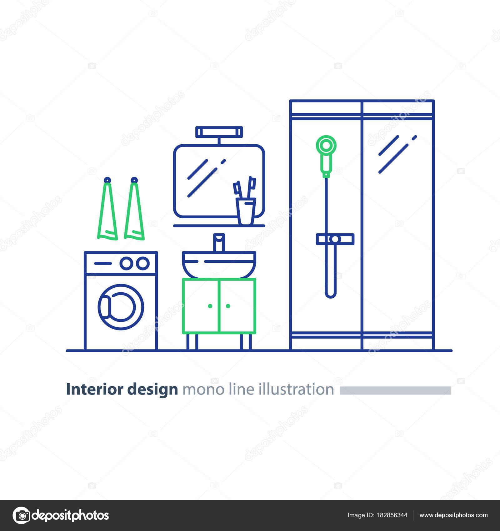 Bad Design Planen, Anlage Elemente, Wasch Maschine Und Dusche Stand U2014  Stockvektor