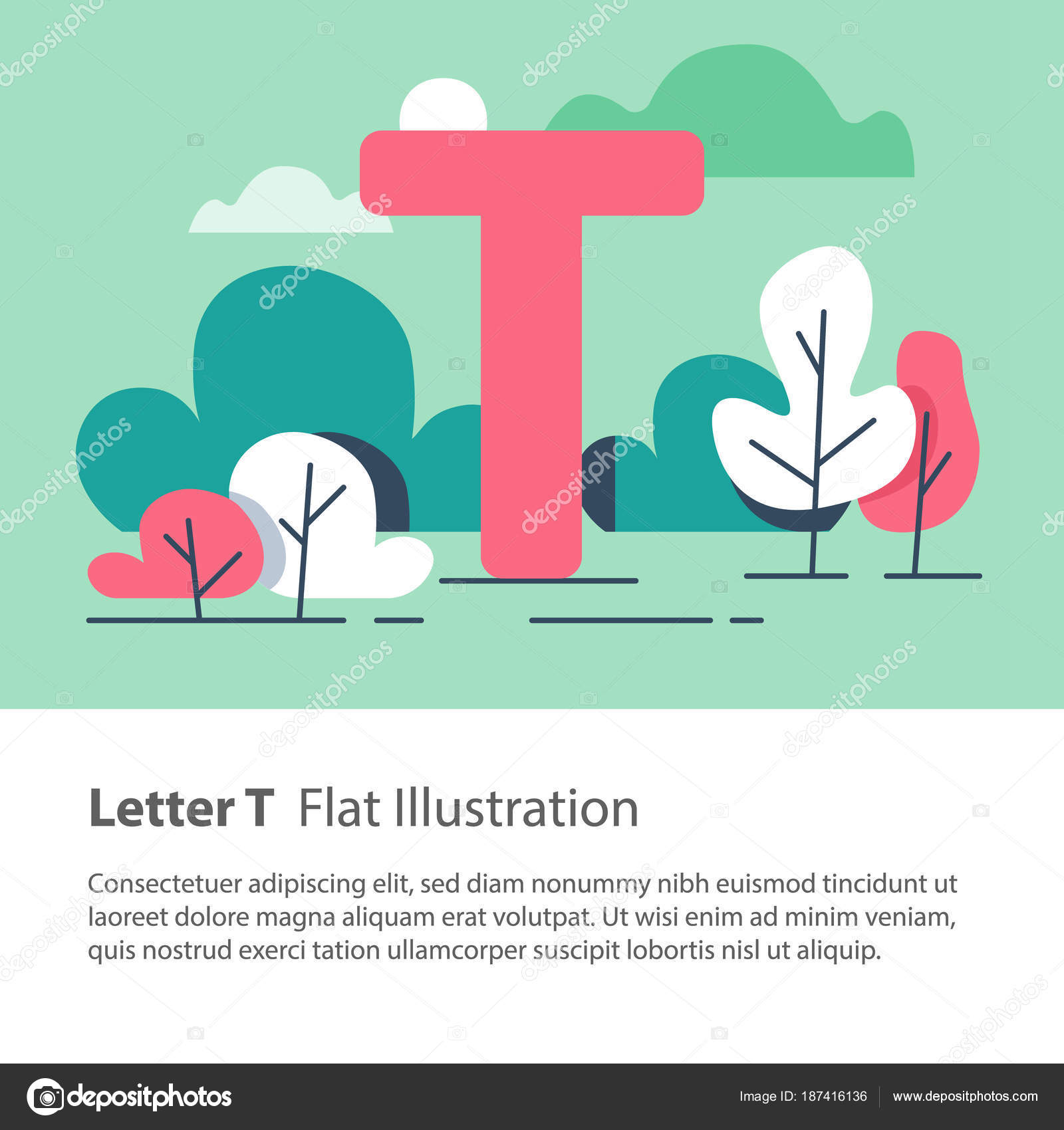 decorative alphabet letter t in floral background park trees simple font education