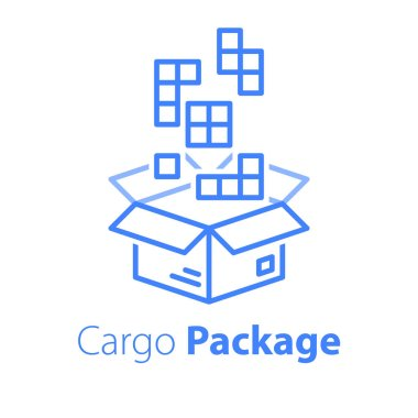 Logistics services, linear design, assemble parcel, multiple shop order, pack large set of items in box, store purchase shipment, vector line icon icon