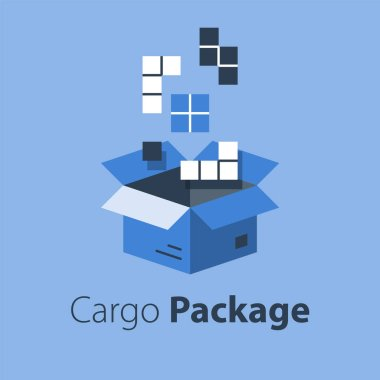 Logistics services, assemble parcel, multiple shop order, pack large set of items in box, store purchase shipment, vector flat illustration icon