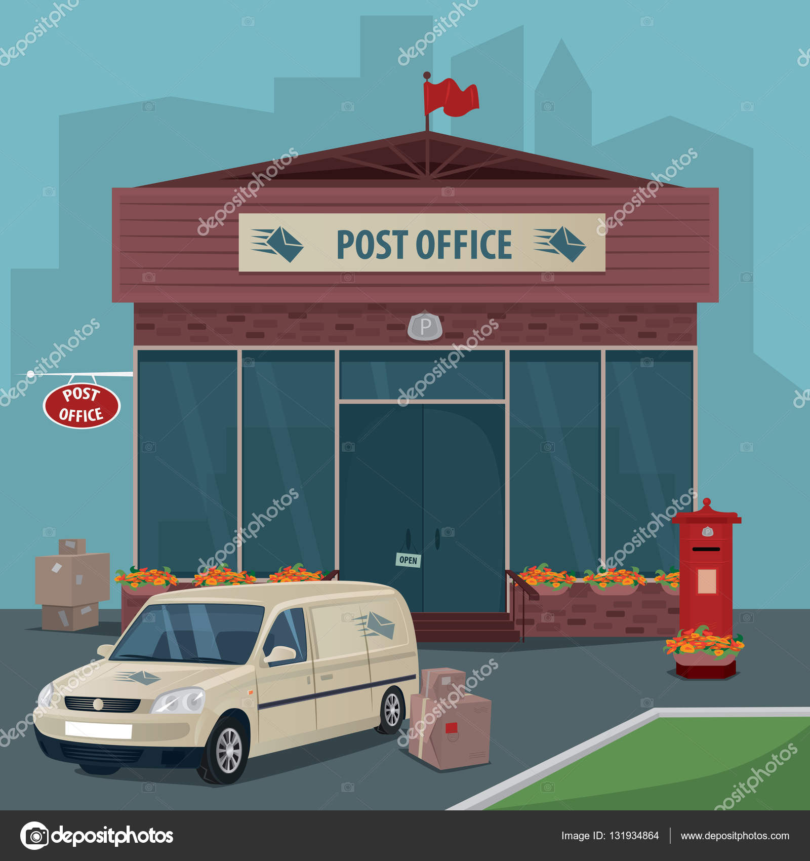 Post Service: Exterior Of Post Office And Car Of Postal Service