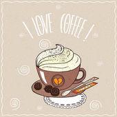 Šálek kávy se šlehačkou na krajkový ubrousek