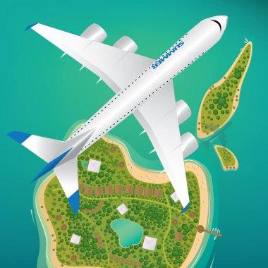 Aircraft flies over few tropical islands