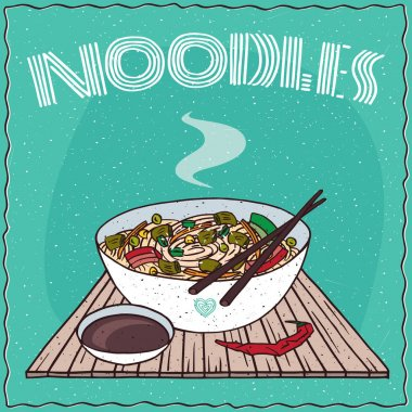 Asian noodle soup Ramen or Udon with vegetables
