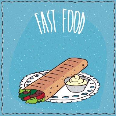 Doner kebab or shawarma with flavoring