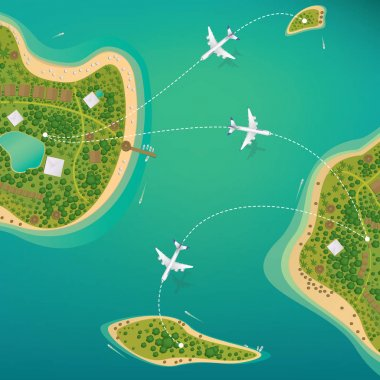 Flights between the tropical islands with beaches