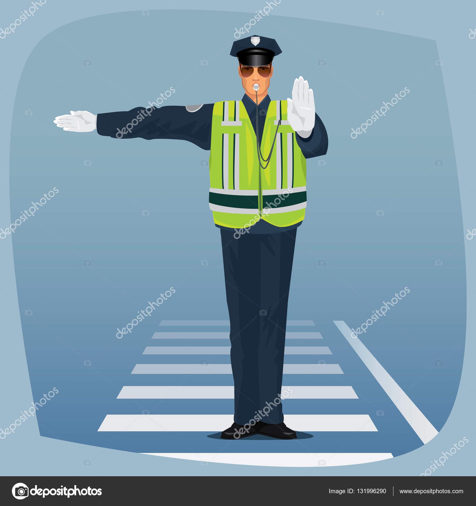 Officer der Verkehr Polizei stehen am Scheideweg — Stockvektor ...