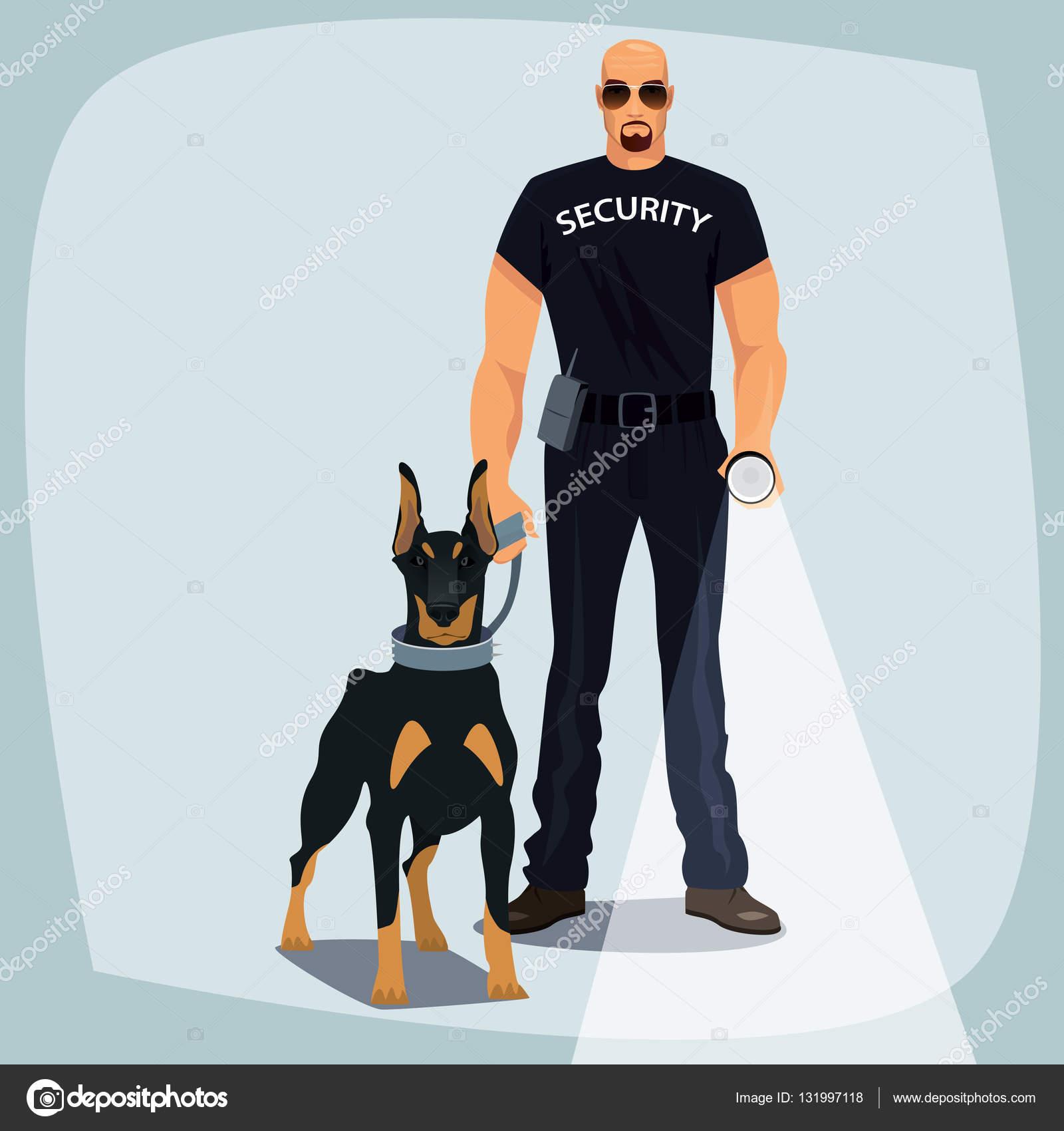 Agente di sicurezza che tiene al guinzaglio cane di guardia