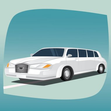 Isolated white limousine