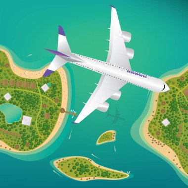 Plane flies over a few tropical islands of different sizes with beaches and houses. Around float boats. View from above. Air traffic or international flights concept stock vector