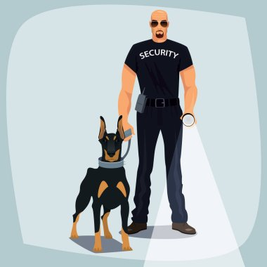 Security officer holding leash guard dog