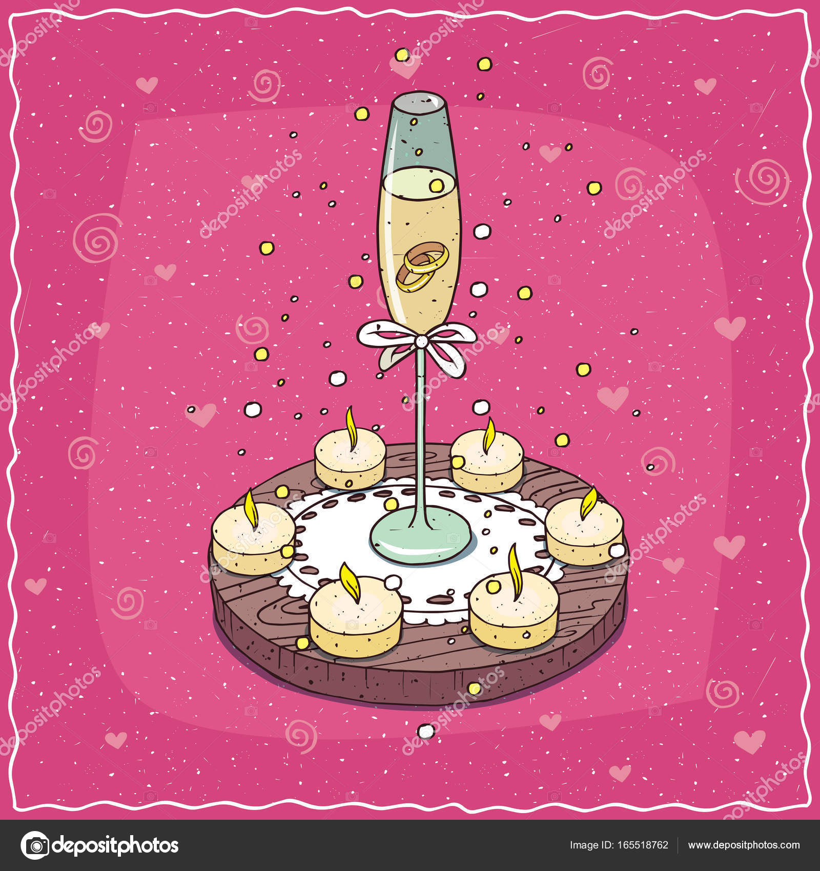 Wedding rings in glass of champagne or wine — Stock Vector ...