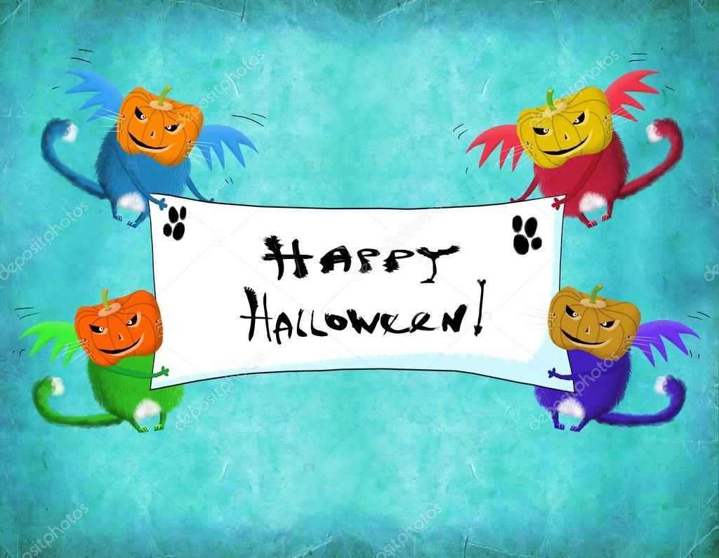 chat carte halloween avec ailes tenant salutations placard