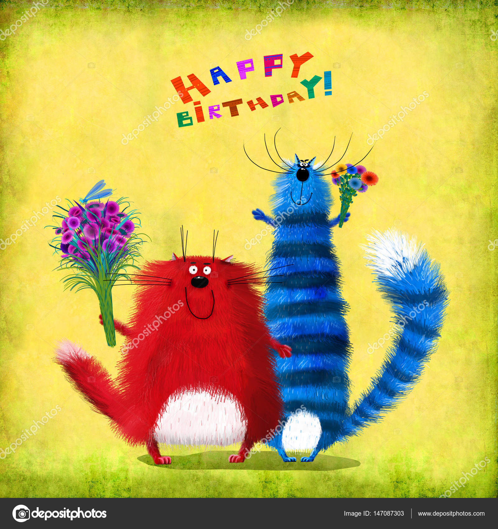 Birthday Card Cats Friends Holding Flowers Stock Photo