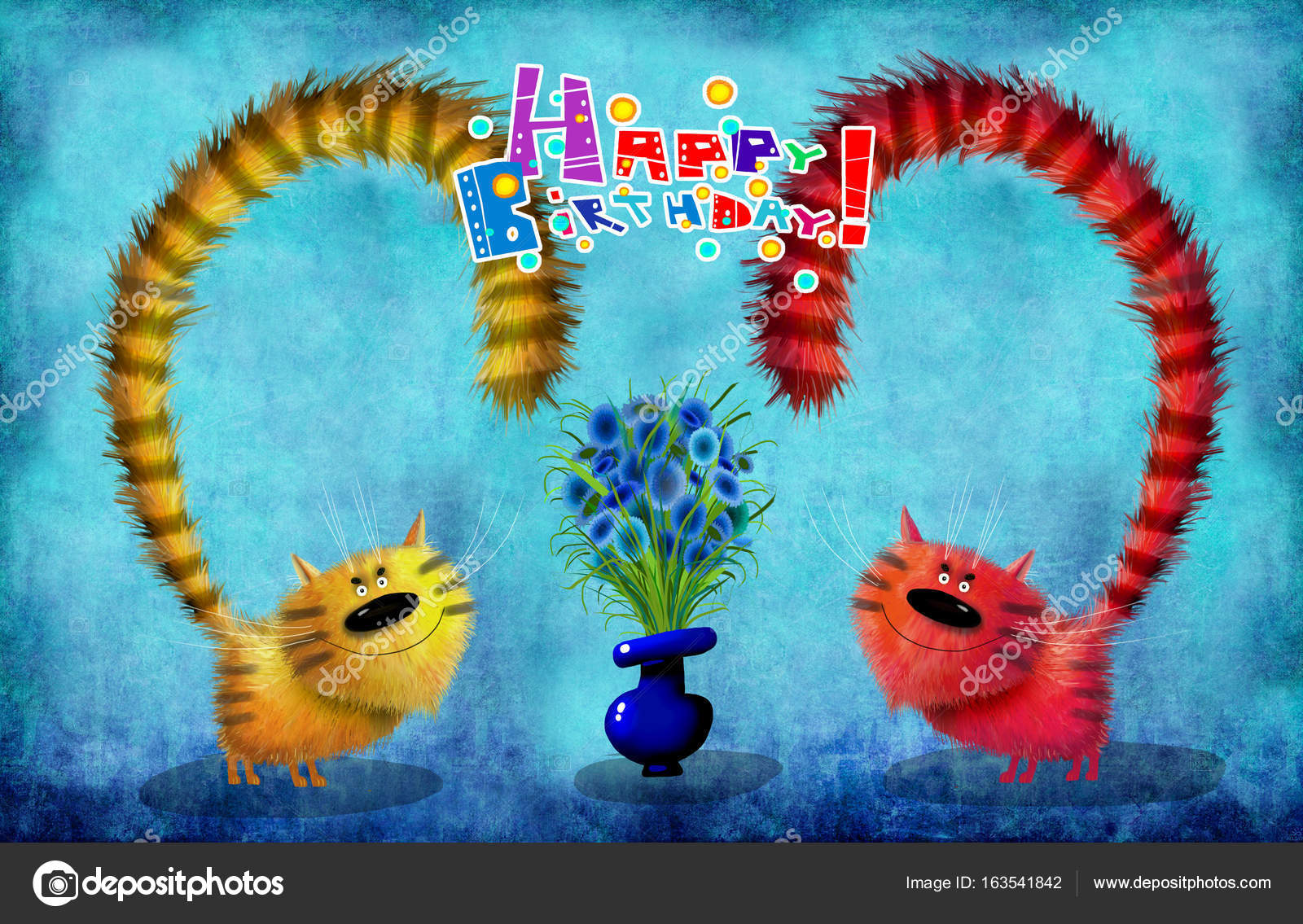 A Nice Birthday Cardcolorful Cats Twins Standing Next To Vase With Beautiful Bunch Of Flowers On The Deep Blue Background