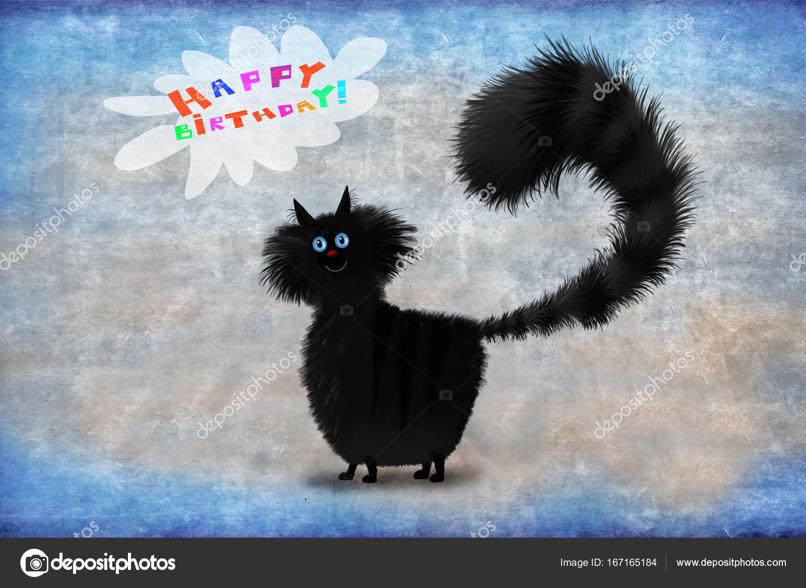 Birthday Card Black Fluffy Cat On Blue Background Stock Photo