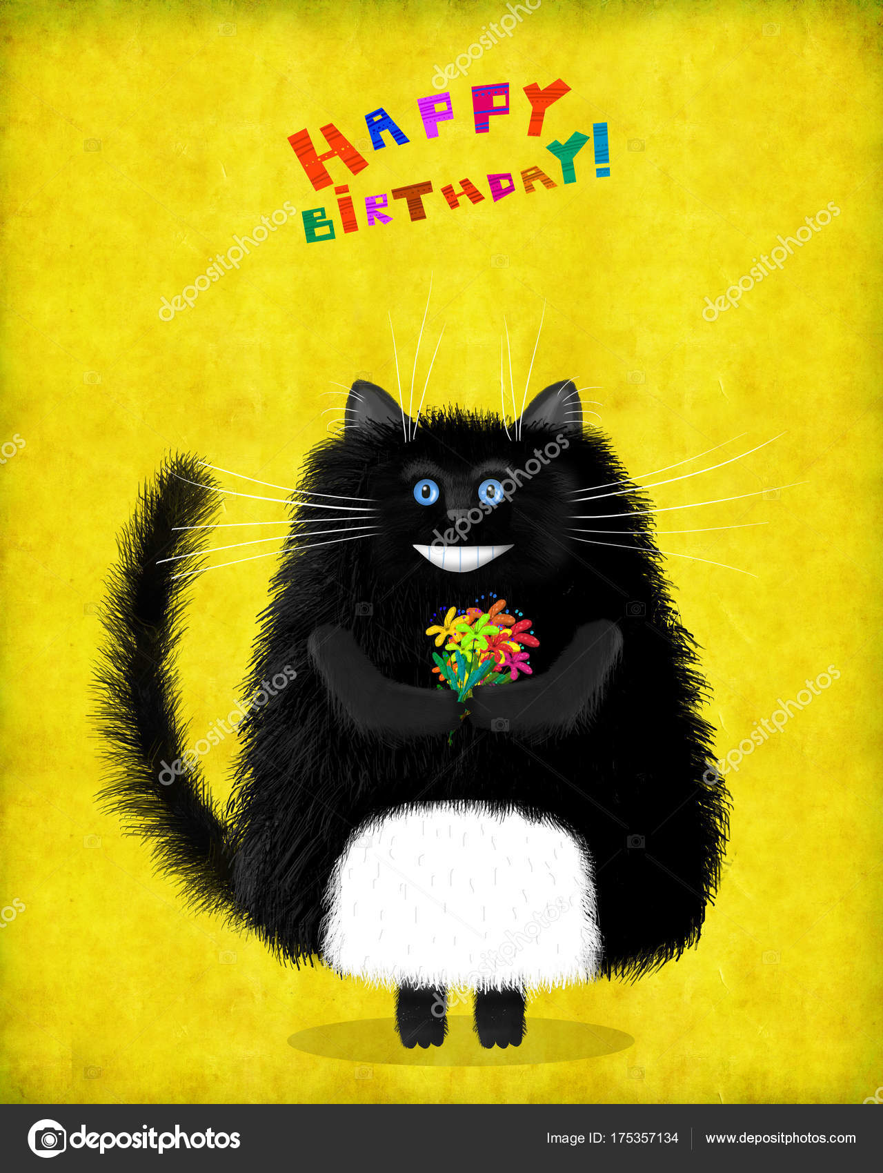 birthday card blue eyed black cat with flowers stock photo