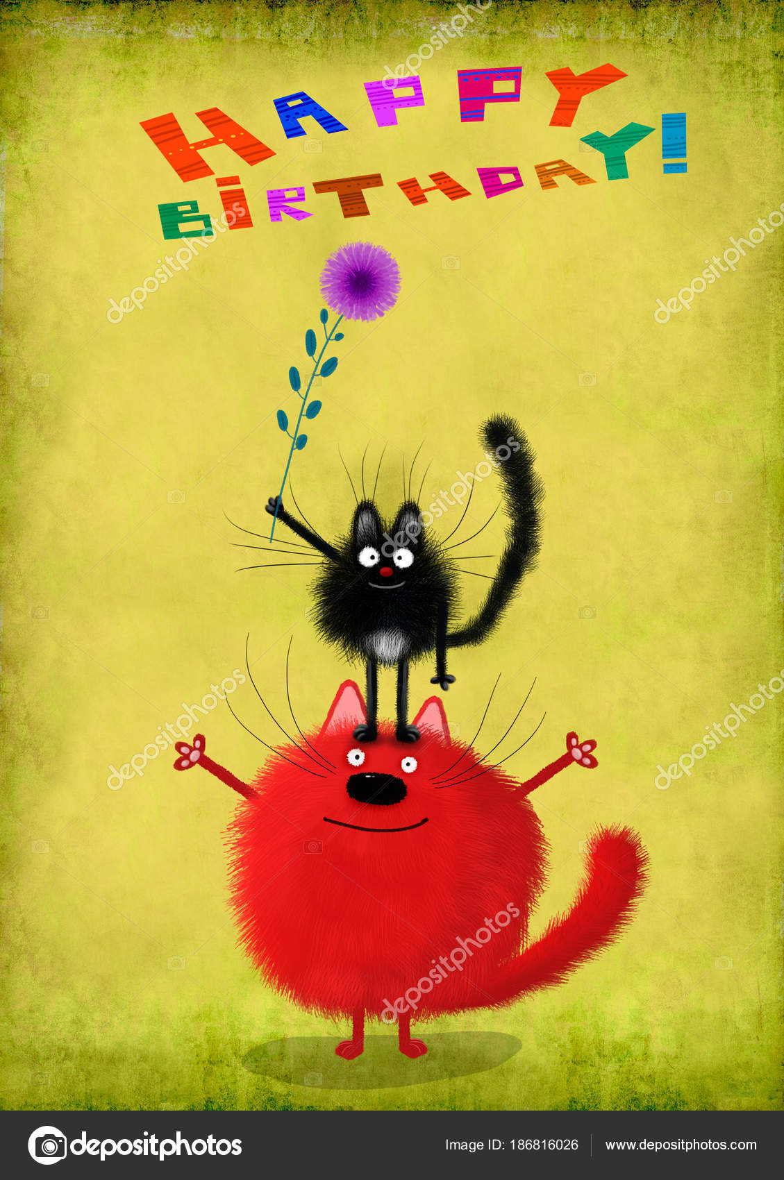 A Very Cute Birthday Card Two Funny Cats With Small Violet Flower Making Pyramid On The Gradient Lime Background Photo By Andrei Sikorskii
