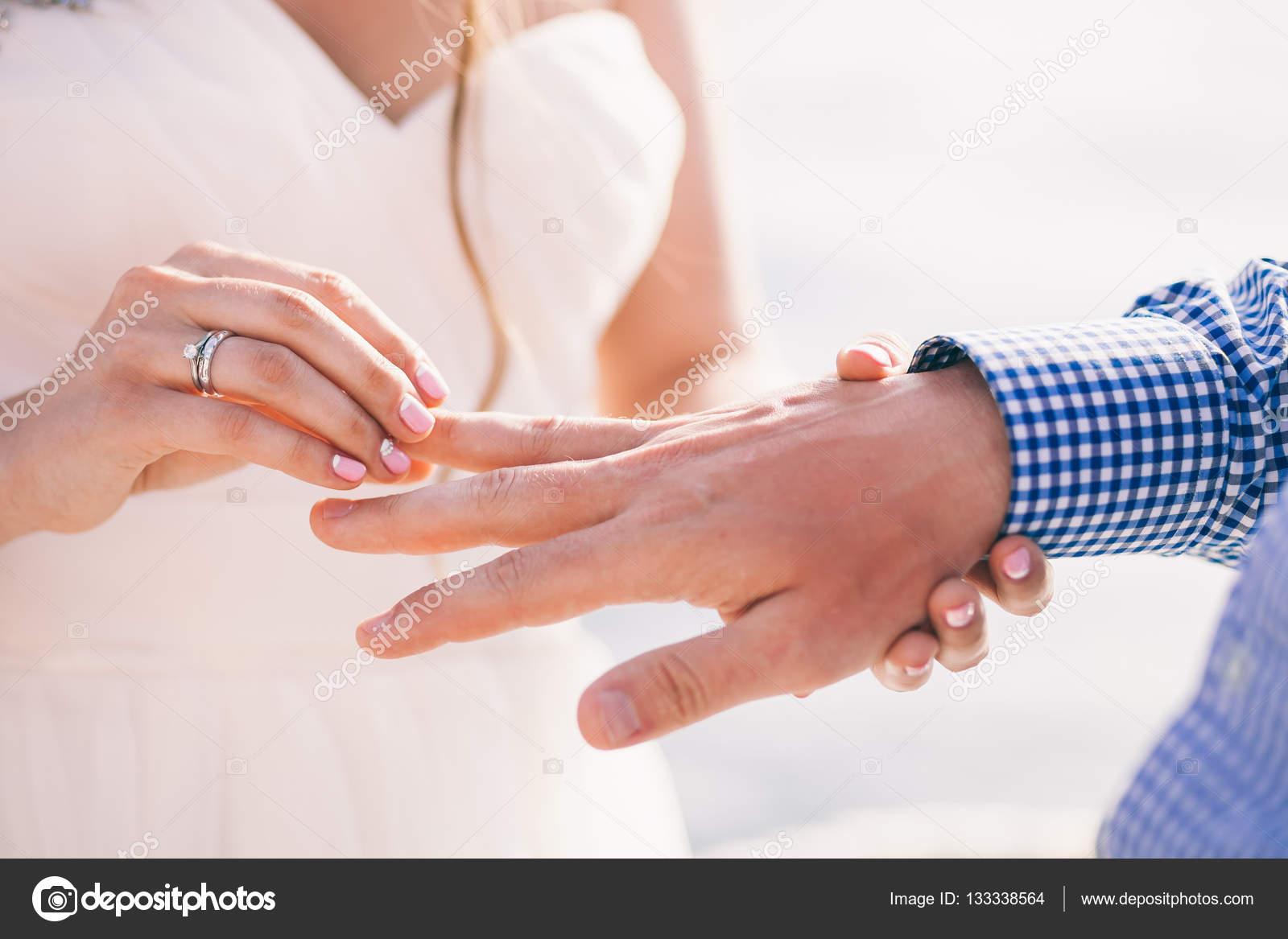 wearing wedding ring ceremony — Stock Photo © shevtsovy #133338564