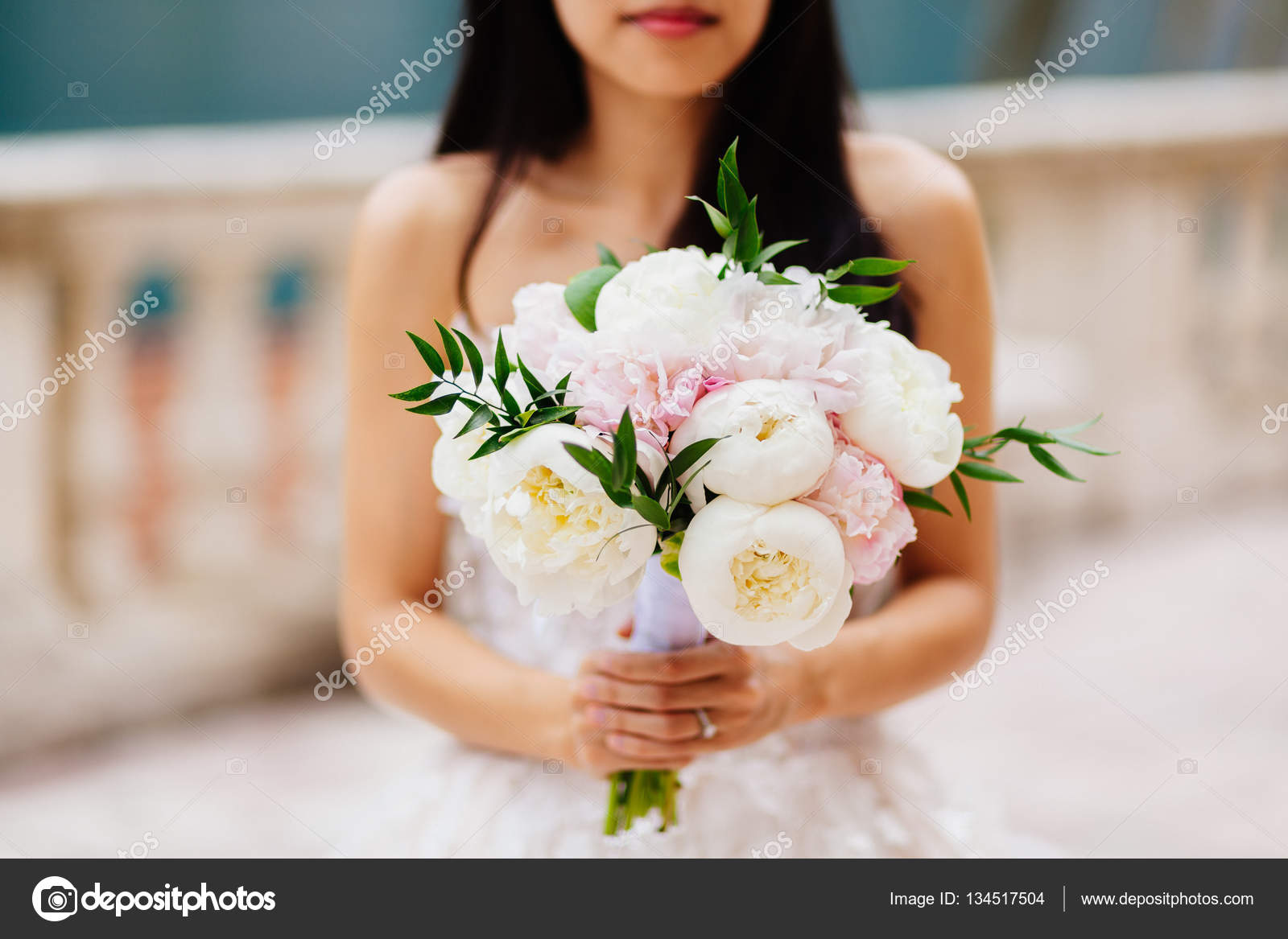 Wedding Bouquet Orchids And Peonies Stock Photo 134517504