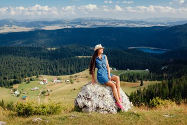 woman travel and relax in countryside