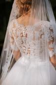 Fotografie Bride in beautiful dress back view. Elegant bride