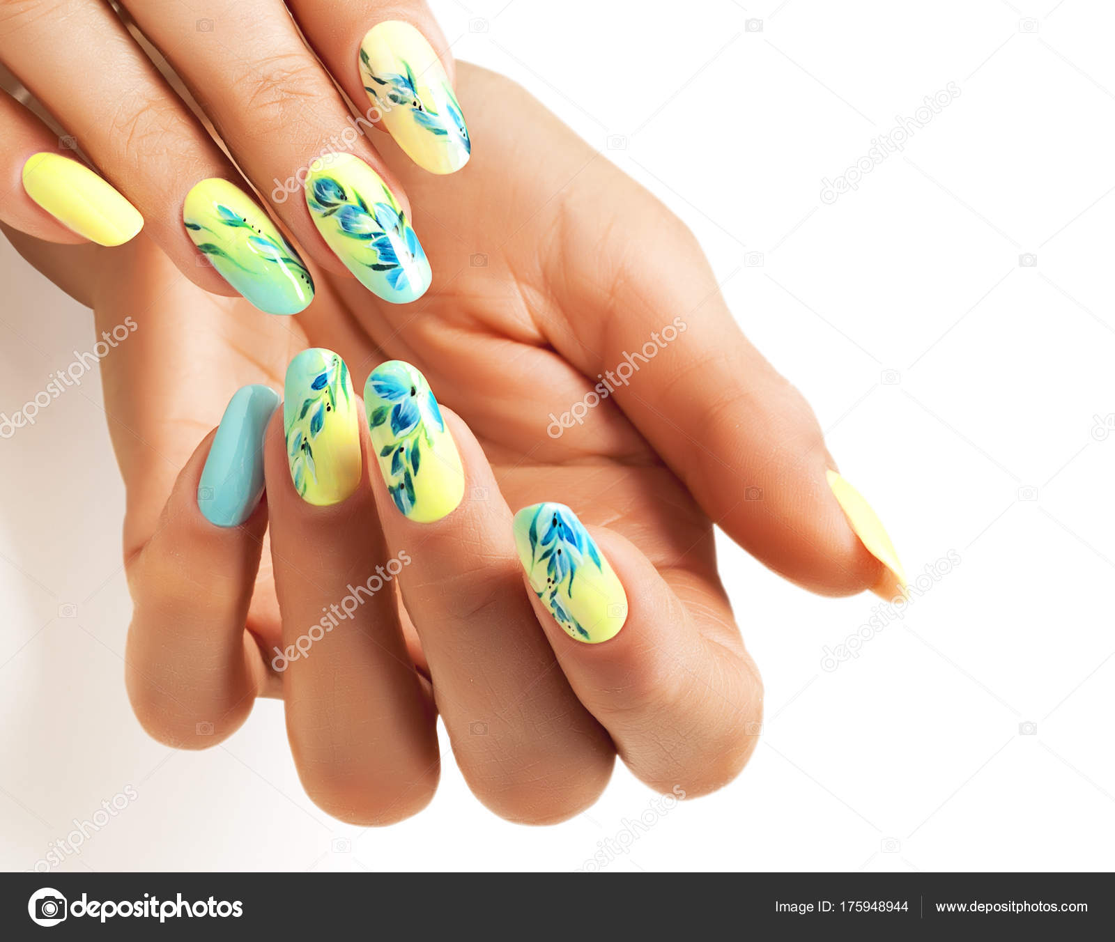 Blue and yellow nail design