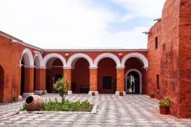 Red courtyard Monastery of Saint Catalina, Arequipa, Peru