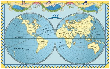 Vector old globe with nymphs