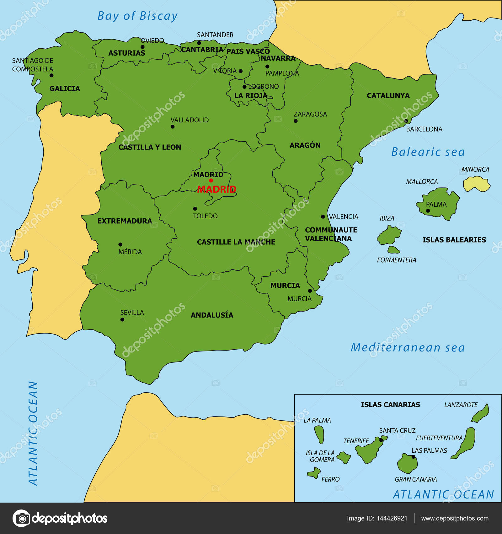 Map of Spain with regions and their capitals Stock Vector