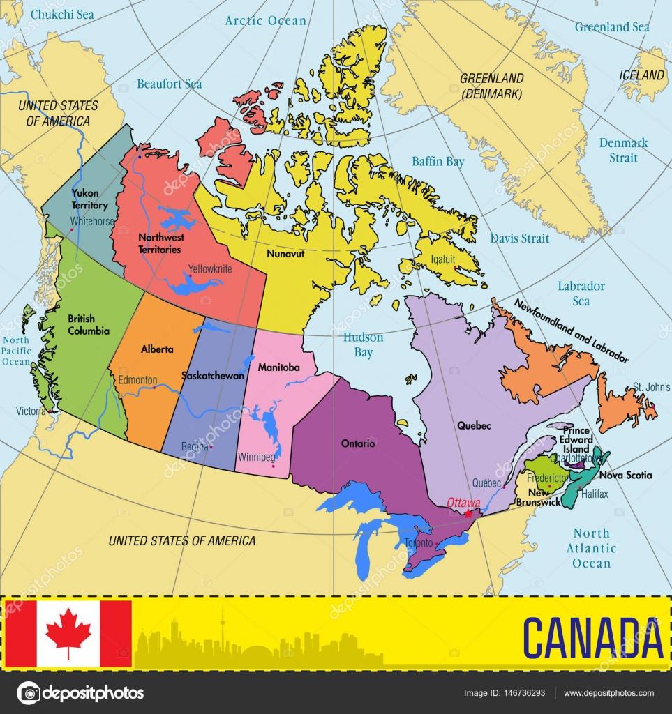 Carte Canada Region.Carte Du Canada Avec Les Regions Et Leurs Capitales Image