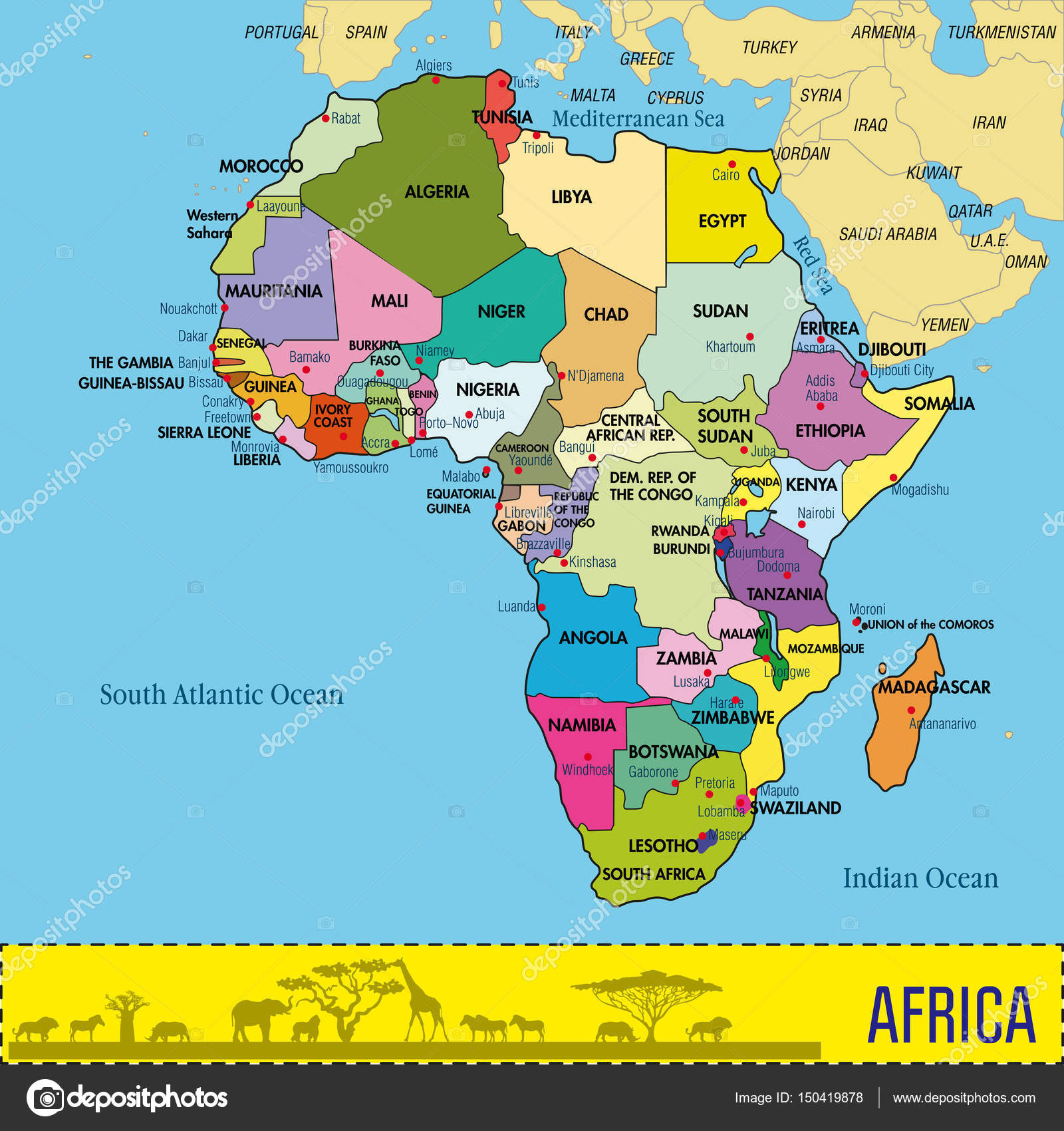 Map Of Africa With All Countries And Their Capitals Stock Vector