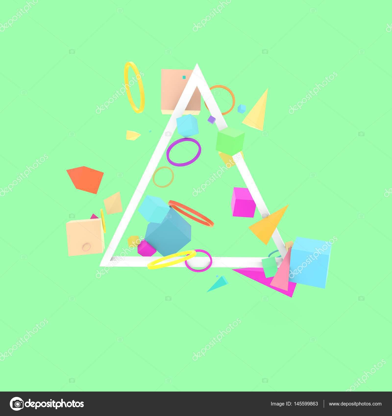 Abstrakte 3D-Figuren mit Dreieck-Rahmen — Stockfoto © whitebarbie ...