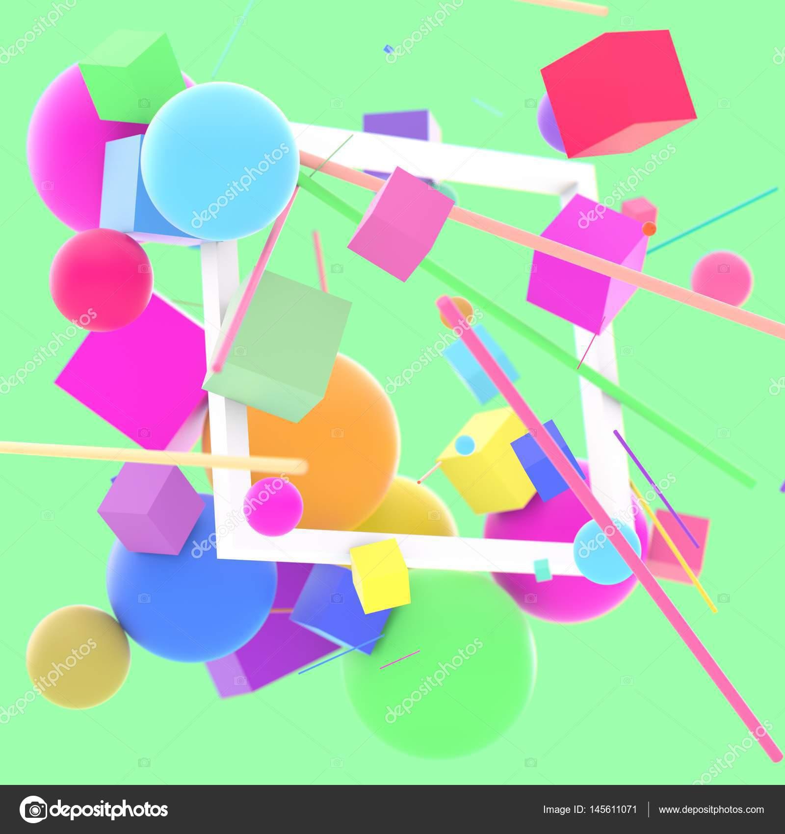 Abstrakte 3D-Figuren mit quadratischen Rahmen — Stockfoto ...